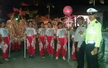 Polsek Kundur Dibantu Siswa SPN Polda Kepri Amankan Malam Tahun Baru Imlek