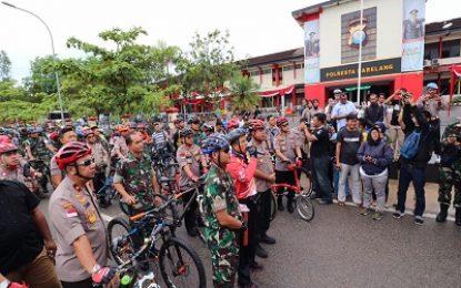 30 Sepeda Gunung,3 Motor di Bagikan Usai Gowes Kamtibmas Kepri PAM Pemilu 2019